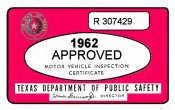 1962 Texas Inspection Sticker