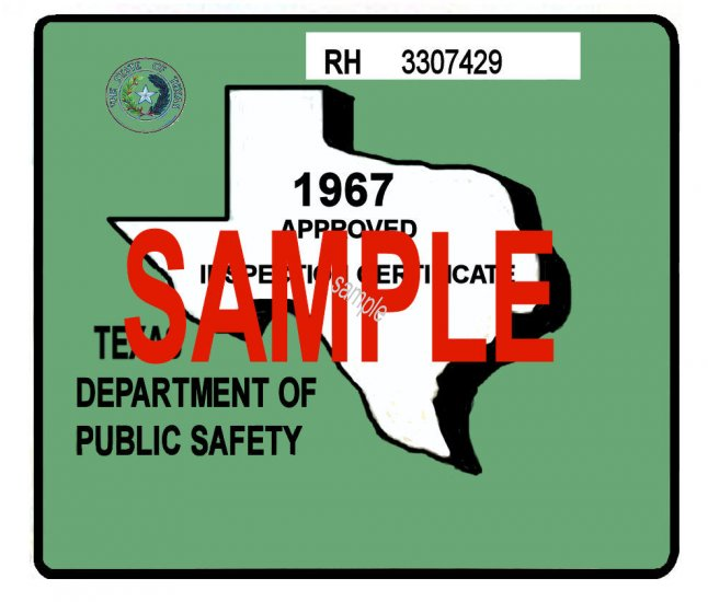 1967 Texas Inspection Sticker - Click Image to Close