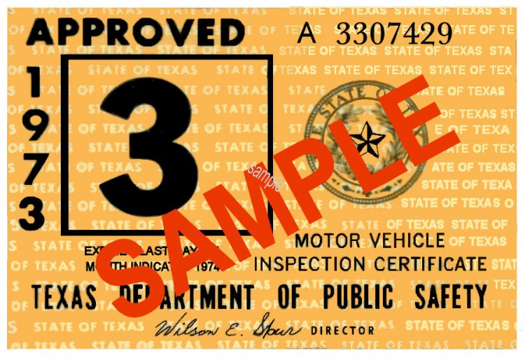 1973 Texas Inspection Sticker - Click Image to Close