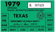 Texas 1979 Cycle Inspection Sticker