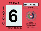 1980 Texas Inspection Sticker