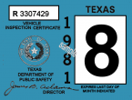 1981 Texas Inspection sticker