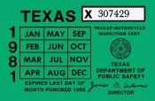 Texas 1981 Cycle Inspection Sticker