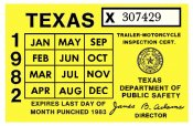 Texas 1982 Cycle Inspection Sticker
