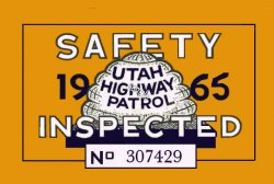 1965 Utah Inspection sticker