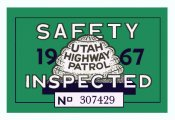 1967 Utah Inspection Sticker