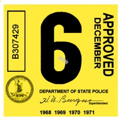 1968-71 Virginia INSPECTION Sticker