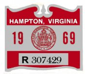 1969 VA HAMPTON city tax sticker