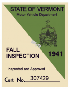 1941 Vermont Fall Inspection Sticker