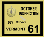 1961 Vermont INSPECTION Sticker FALL