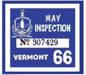 1966 Vermont Inspection Sticker