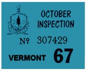 1967 Vermont Inspection Sticker