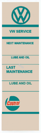 CASTROL VOLKSWAGEN Lubrication Door Sticker