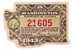 1943 Washinton registration inspection Sticker