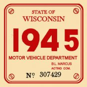 1945 Wisconsin registration/inspection sticker