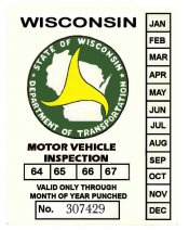 1964-1967 Wisconsin INSPECTION Sticker