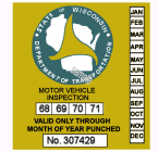 1968 to 1971 Wisconsin Inspection Sticker