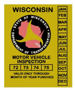 1972-75 Wisconsin INSPECTION Sticker