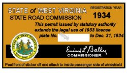1934 WV Registration sticker