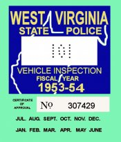1953-54 West Virginia inspection sticker