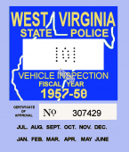 1957-58 WV Inspection sticker