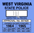1964-65 West Virginia inspection sticker