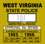 1965-66 West Virginia inspection sticker