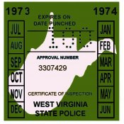 1973-74 West Virginia Inspection Sticker