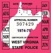 1974-75 West Virginia INSPECTION Sticker