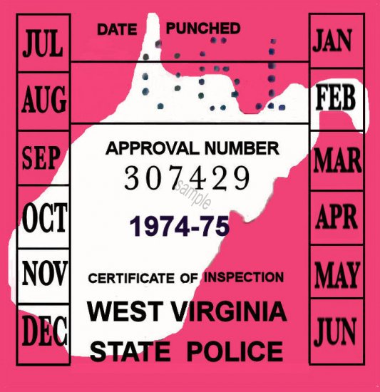 1974-75 West Virginia INSPECTION Sticker - Click Image to Close