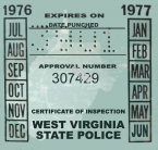1976-77 West Virginia INSPECTION Sticker