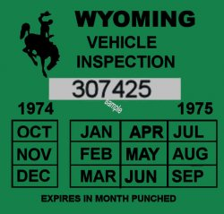 1974-75 Wyoming inspection sticker