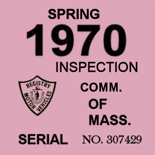 1970 Massachusetts SPRING INSPECTION Sticker