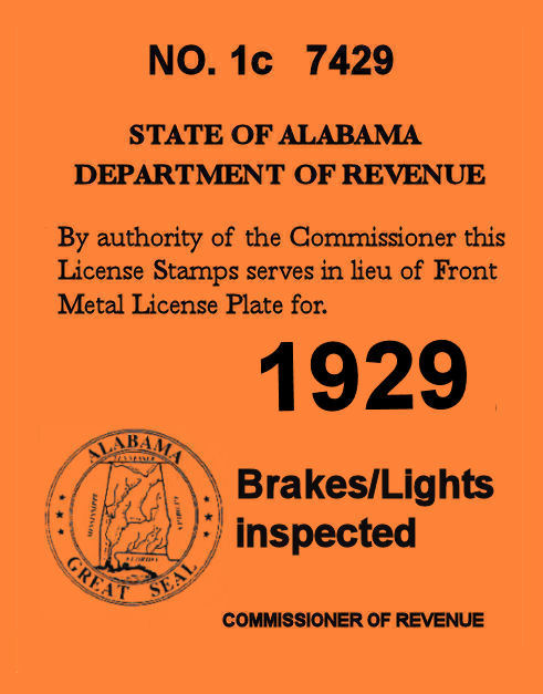1929 Alabama registration inspection sticker