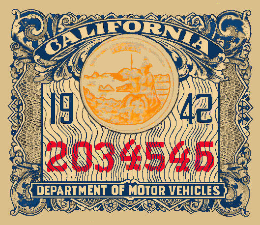 1942 California Registration/inspection sticker