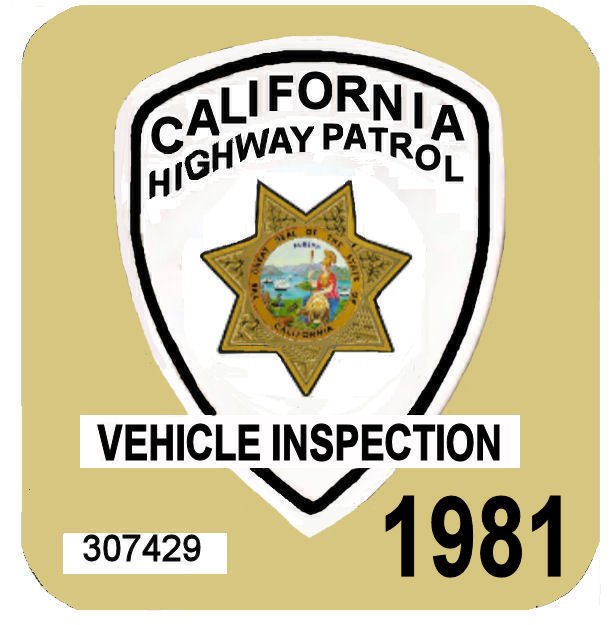 1981 CA safety check Inspection Sticker