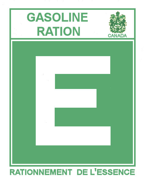 1945-46E Gas Ration Sticker CANADA