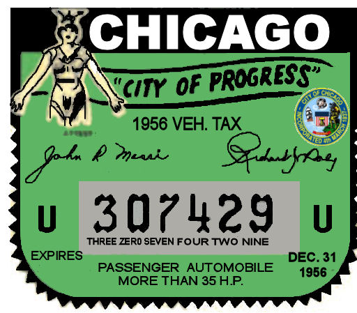 1956 Ilinois Tax/ Inspection sticker CHICAGO
