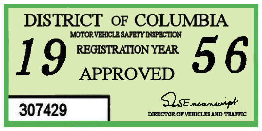 1956 DC Inspection sticker