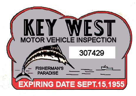 1955 Florida Key West Inspection Sticker