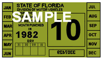 1982 Florida Inspection Sticker