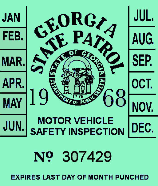 1968 Georgia Inspection Sticker
