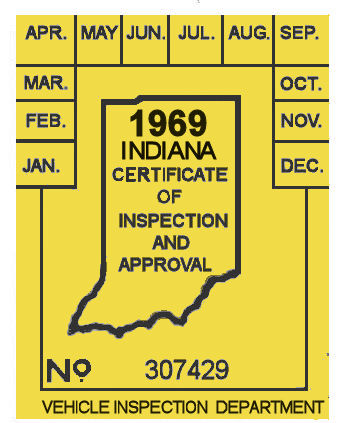 1969 Indiana INSPECTION Sticker