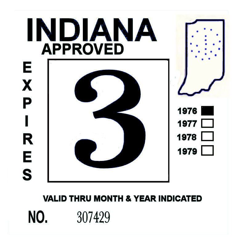 1976 Indiana Inspection Sticker BLACK
