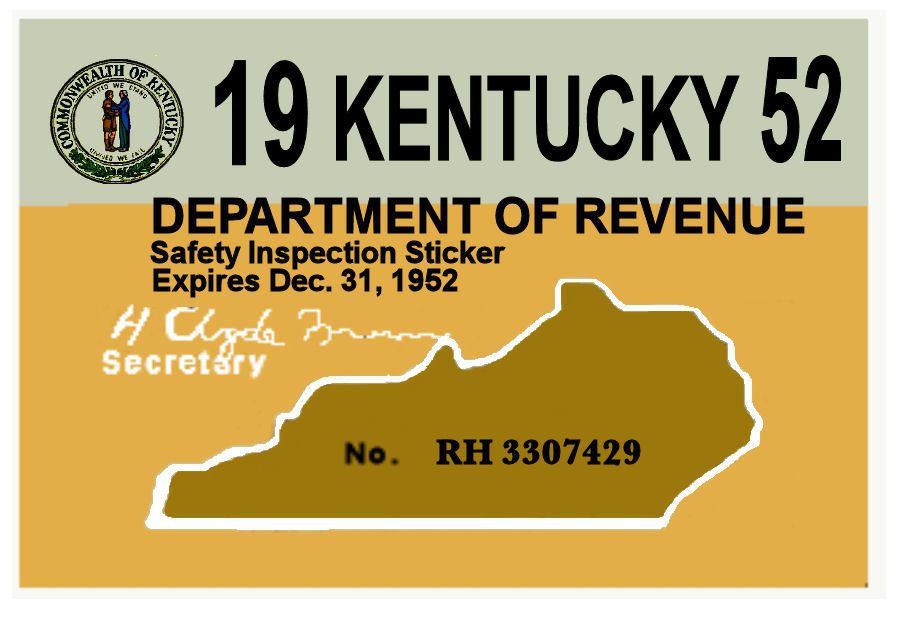 1952 Kentucky INSPECTION sticker