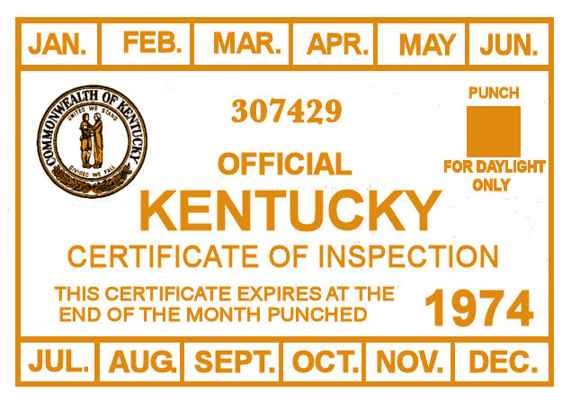 1974 Kentucky Inspection Sticker