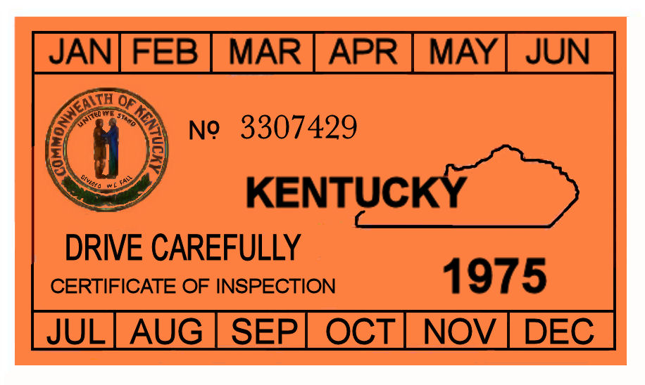 1975 Kentucky INSPECTION sticker