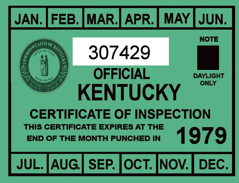1979 Kentucky Inspection Sticker