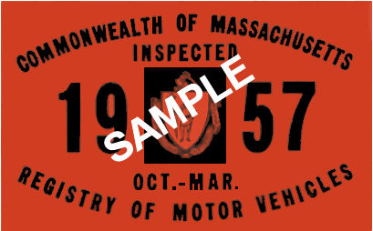 1957 Massachusetts Fall INSPECTION Sticker
