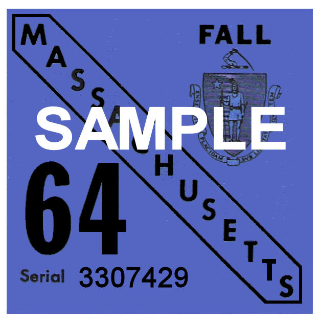 1964 Massachusetts FALL INSPECTION Sticker